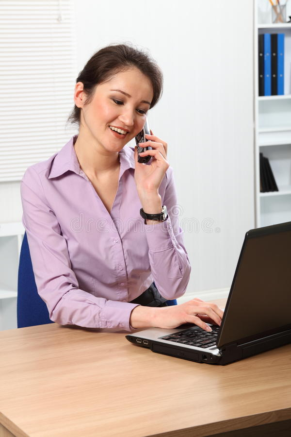 Download Beautiful Asian Business Woman Using Telephone Stock Image - Image: 18094601