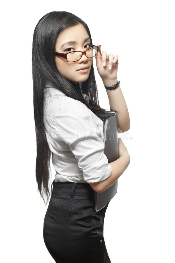 Free Beautiful Asian Businesswoman With Documents Royalty Free Stock Photography - 22691467