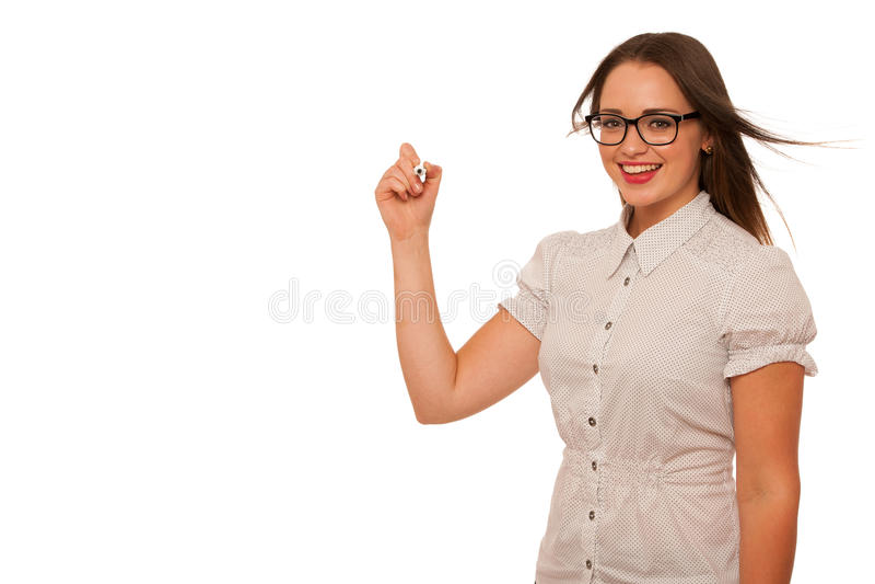 Beautiful asian caucasian woman writing presentation with marker stock image