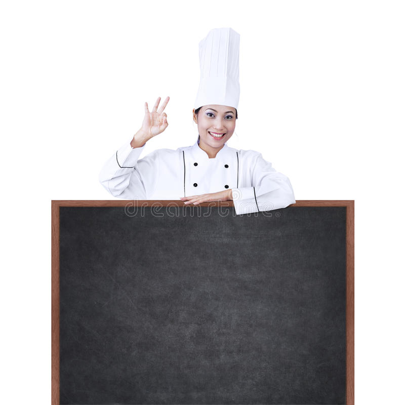 Asian Chef With Copyspace On White Stock Photos
