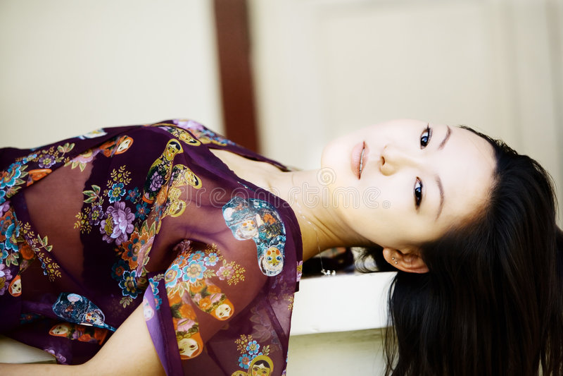 Download Beautiful Asian girl stock image. Image of purple, fashion - 3325599