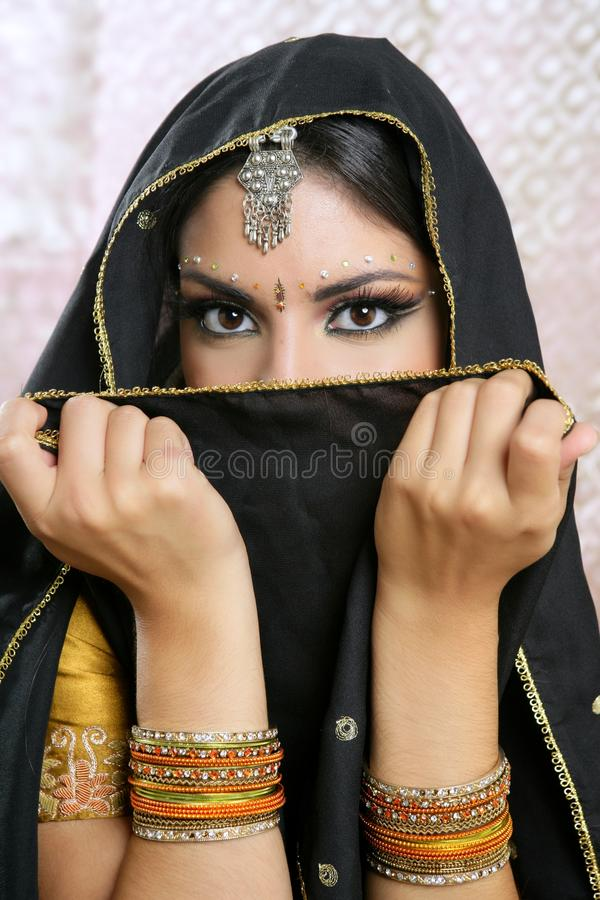 Beautiful asian girl with black veil on face stock photo