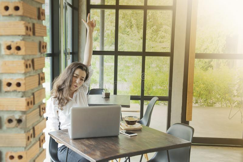 Beautiful Asian girl celebrate with laptop, success happy pose. E-commerce, university education, internet technology, or startup royalty free stock photos