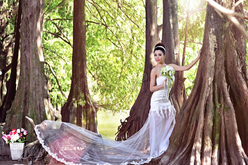 Beautiful Asian girl in a wedding dress showing happy moments stock images