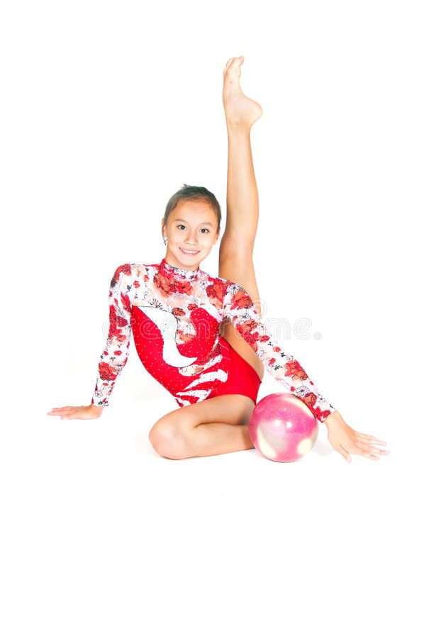 Download Beautiful Asian Girl Gymnast With A Ball Stock Image - Image of ball, isolated: 22627335