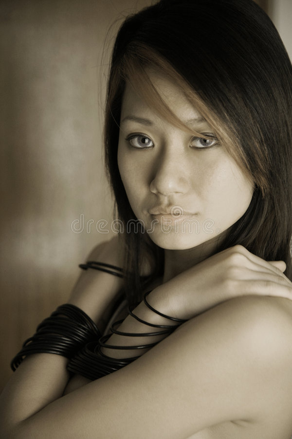 Beautiful Asian girl looking at viewer royalty free stock images