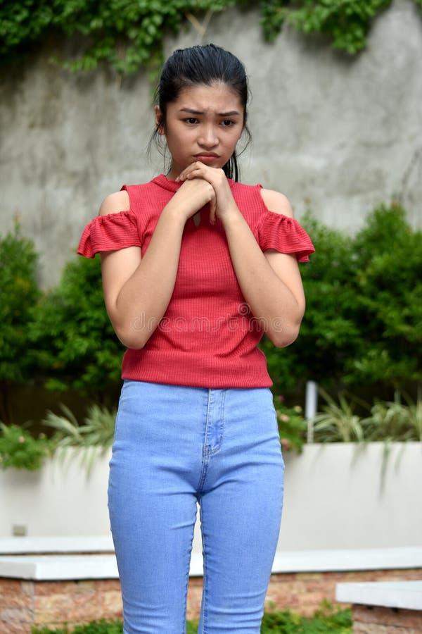 A Beautiful Asian Girl Praying royalty free stock photos