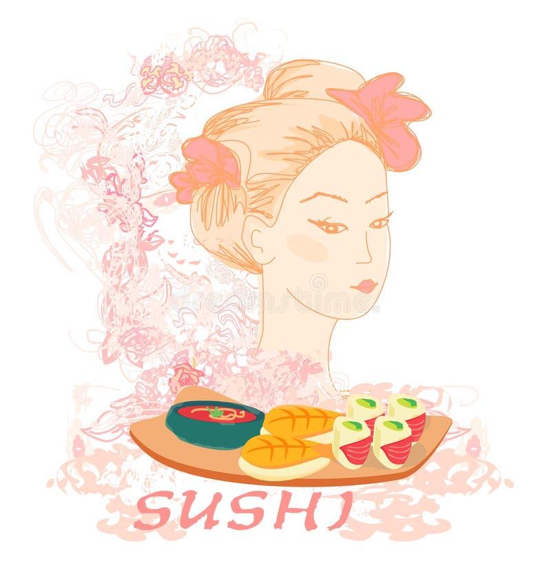Beautiful Asian girl and sushi