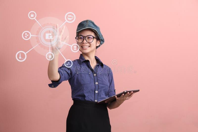 Beautiful Asian girl touching stock photos