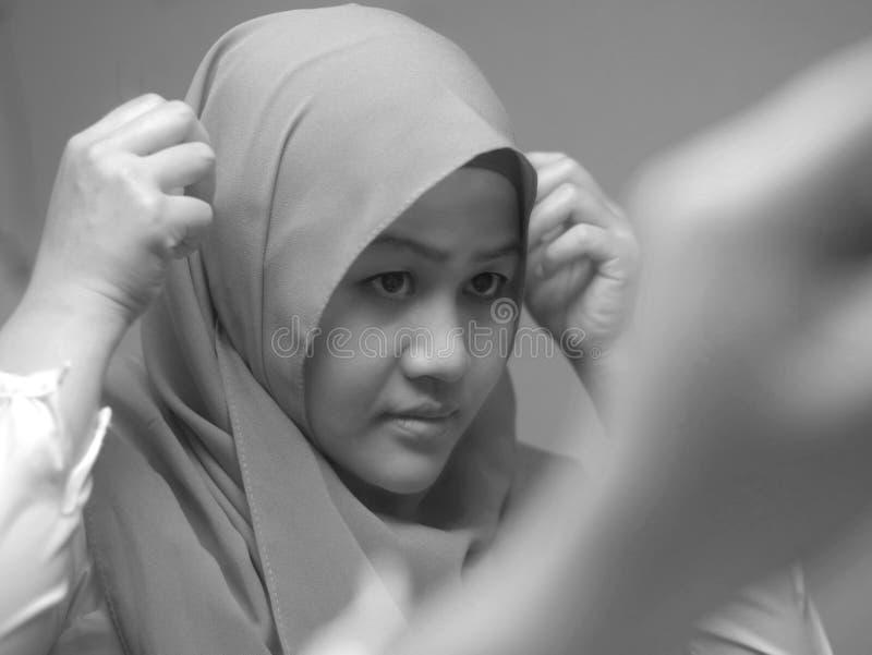 Beautiful Asian muslim woman wearing hijab on, head scarf for muslim woman, islamic religion concept royalty free stock photo
