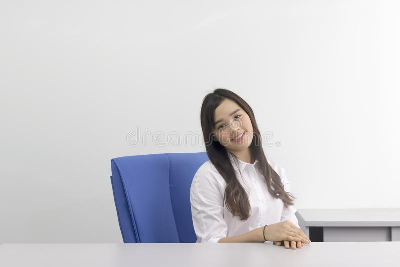 Beautiful asian office lady at the office stock photo