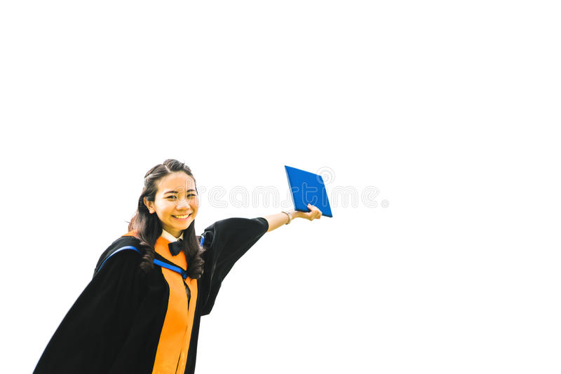 Beautiful asian university or college graduate student woman raising her certificate, education or success concept, isolated on stock photos