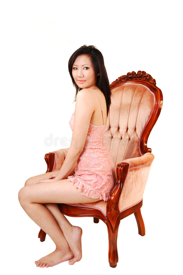 Download Beautiful Asian woman. stock photo. Image of armchair - 7564836