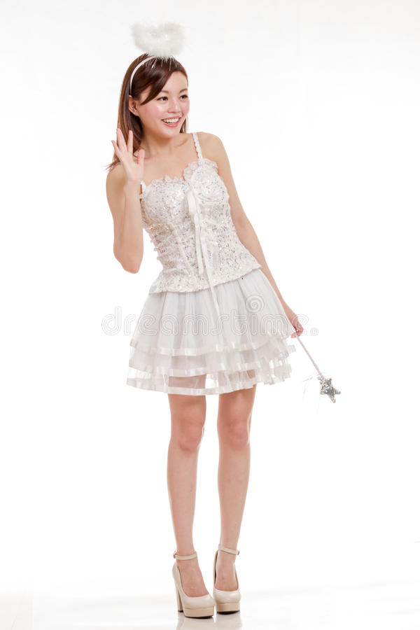 Beautiful Asian Woman in Angel Costume, isolated royalty free stock photos