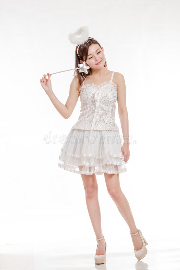 Beautiful Asian Woman in Angel Costume, smiling royalty free stock photo