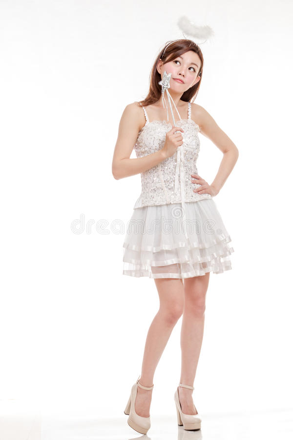Beautiful Asian Woman in Angel Costume thinking royalty free stock photos