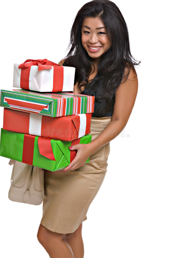 Download Beautiful Asian Woman Carries Christmas Gifts Stock Image - Image: 6038445