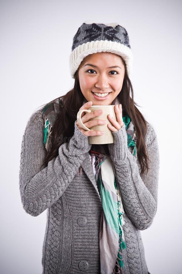 Download Beautiful Asian Woman Drinking Coffee Stock Image - Image: 8061665