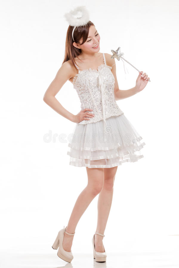 Beautiful Asian Woman in Fairy Godmother Costume, isolated royalty free stock photography