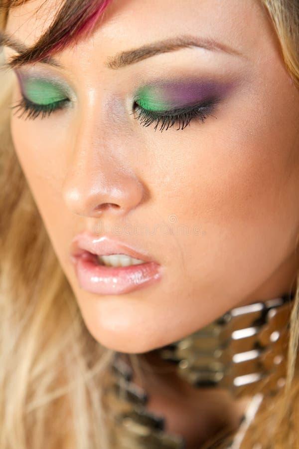 Beautiful asian woman with fashion makeup stock image