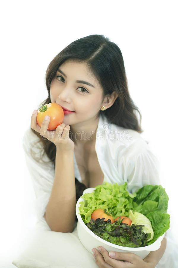 Beautiful Asian woman with healthy food. Heathy life style and Beautiful skin care food concept stock image