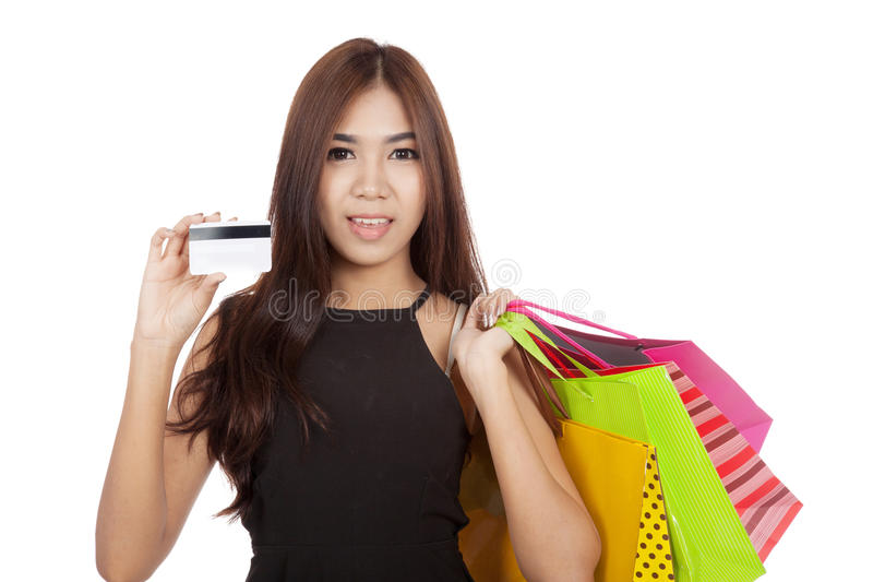 Beautiful Asian Woman Hold Shopping Bags Show A Cradit Card Stock ...