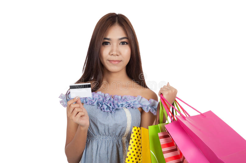 Beautiful Asian Woman Hold Shopping Bags Show A Credit Card Stock ...