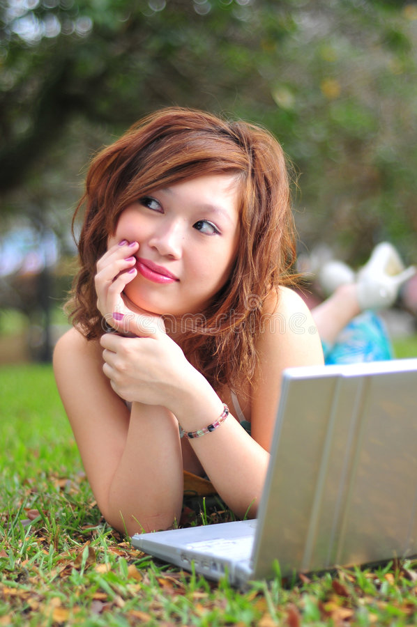 Beautiful Asian Woman With Laptop stock images