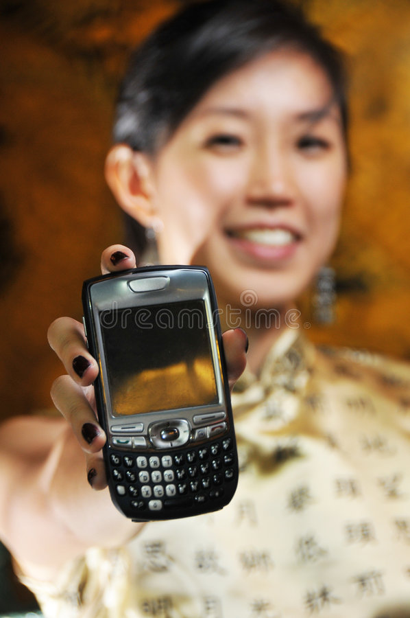Beautiful Asian Woman With Mobile Phone stock photos