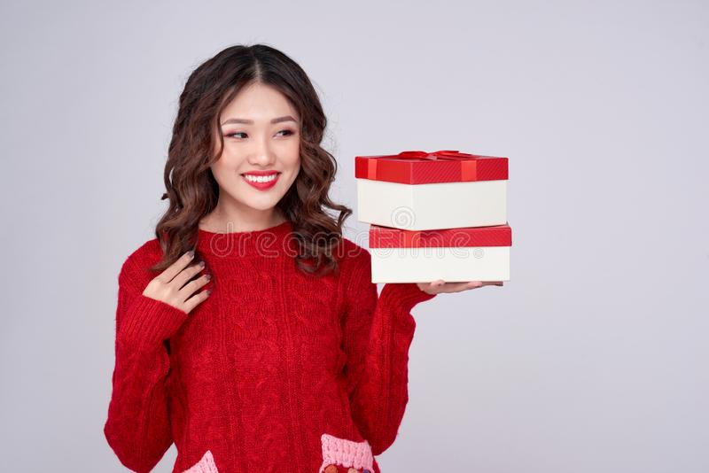 Beautiful asian woman portrait hold gift in christmas style royalty free stock image
