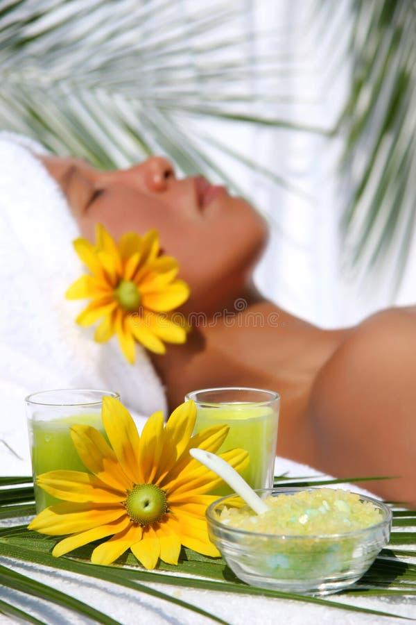 Beautiful asian woman relaxing royalty free stock image