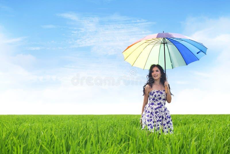 Beautiful Asian Woman on Rice Field royalty free stock photos