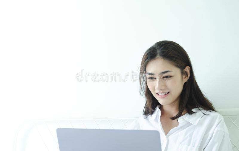 Women are working and happy royalty free stock images