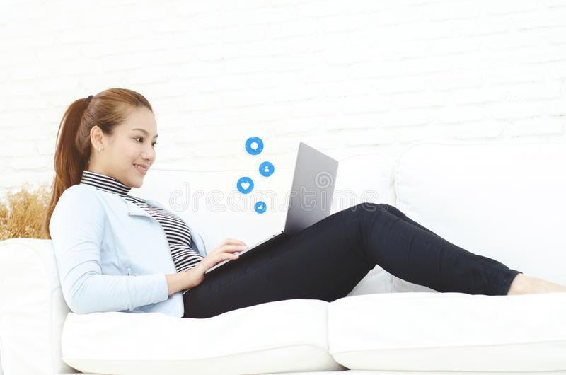 A woman working in her room royalty free stock image
