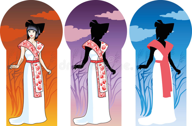 Beautiful asian woman in unusual white wedding gow royalty free illustration