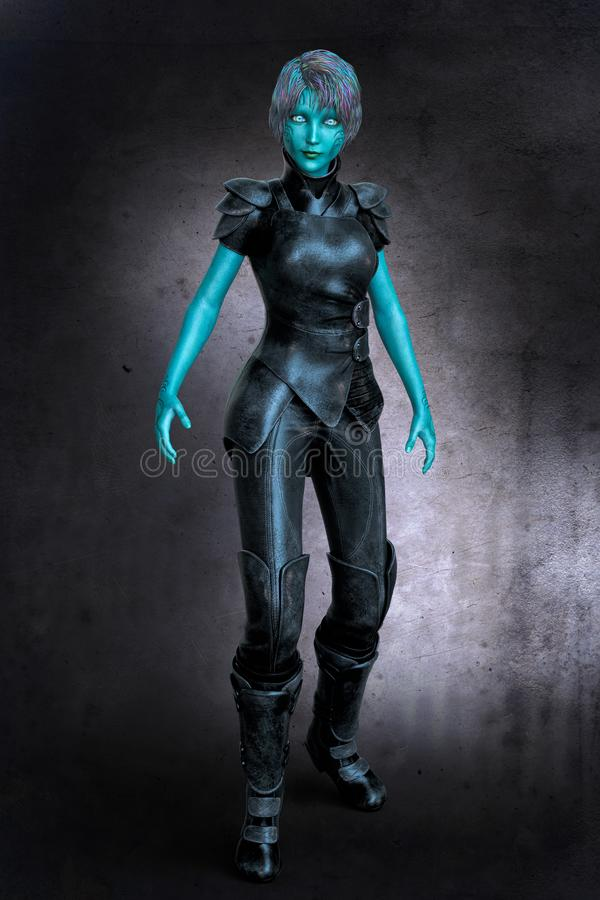 Beautiful Assertive Alien Woman wearing Black Leather. CG sci-fi style fantasy alien woman ideal for space fantasy, paranormal romance, urban fantasy and science stock illustration