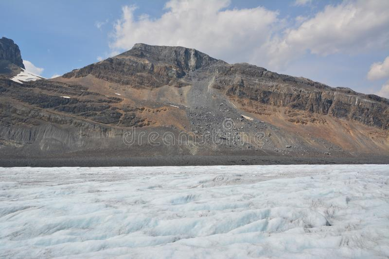 Athabasca glacier. The beautiful Athabasca glacier, Columbia icefields royalty free stock photography