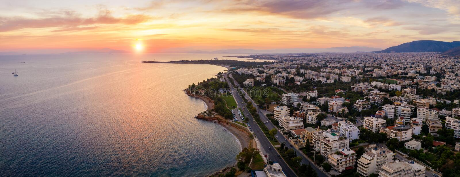The beautiful Athens Riviera coast, Attica, Greece. The beautiful Athens Riviera coast with beaches and marinas during sunset time, Attica, Greece royalty free stock photography