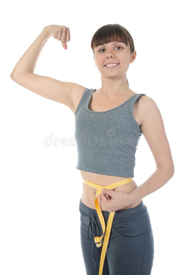 Beautiful Athlete Demonstrates Muscles. Stock Image