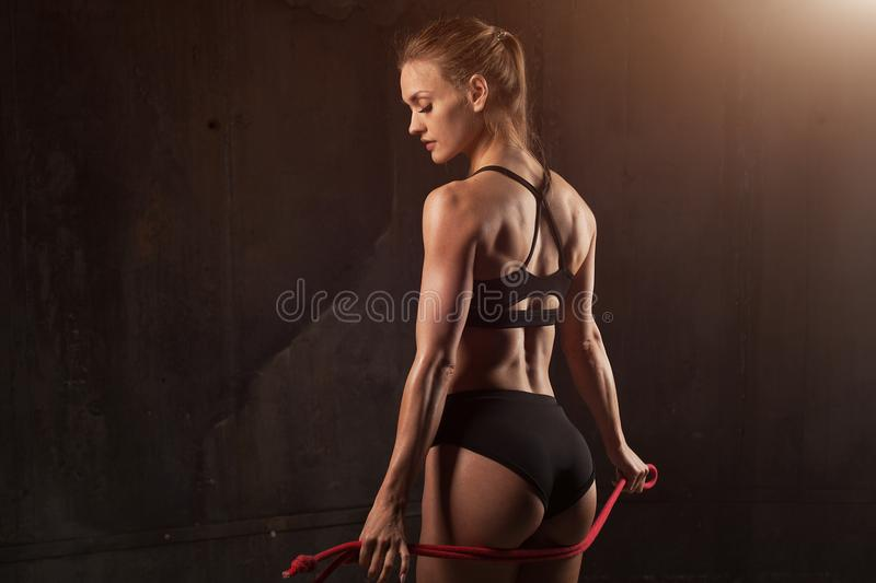 Beautiful athletic close-up. Perfect woman buttocks in lingerie. Clean healthy skin. Healthy lifestyle, diet and fitness. About squats exercises concept stock photography