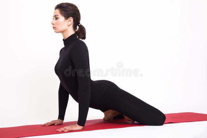 Beautiful athletic girl in a black suit doing yoga. simhasana asana lion pose. Isolated on white background. royalty free stock photo