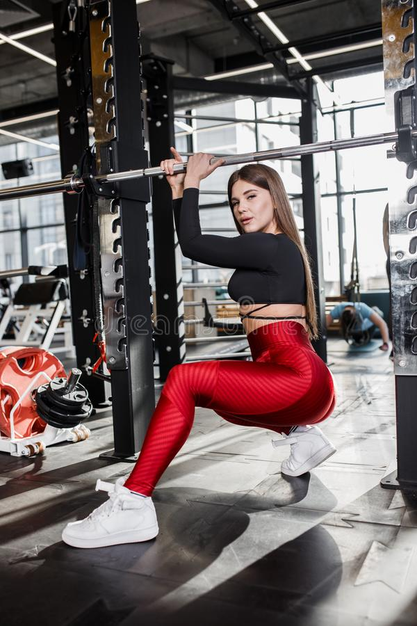 Beautiful athletic girl in stylish bright sports clothes does poses next to the horizontal bar in the modern gym royalty free stock image