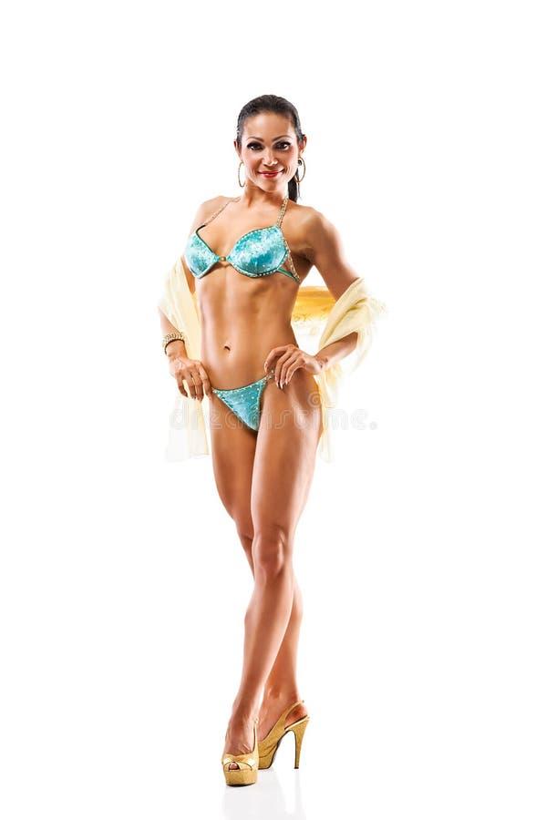 Download Beautiful Athletic Girl Wearing Bikini Posing Over White Stock Photo - Image: 30647714