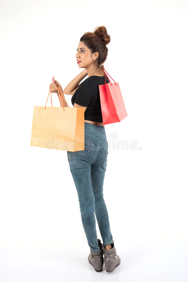Beautiful atractive girl shopping royalty free stock photography