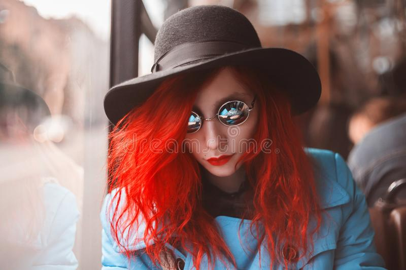 Beautiful attractive girl with red hair royalty free stock images