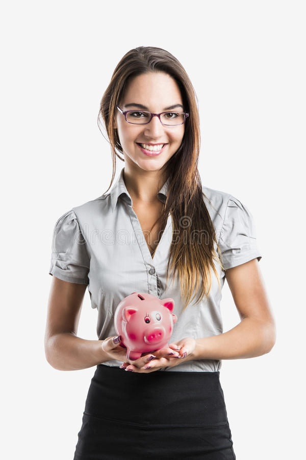 Download Woman holding a piggy bank stock photo. Image of cheerful - 30154926