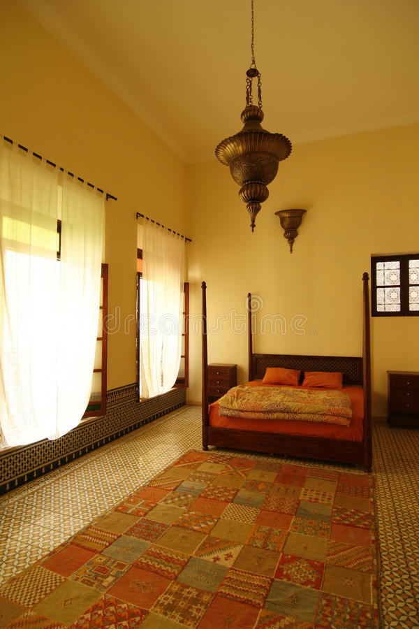 Beautiful authentic arabic bedroom (Morocco) stock photography