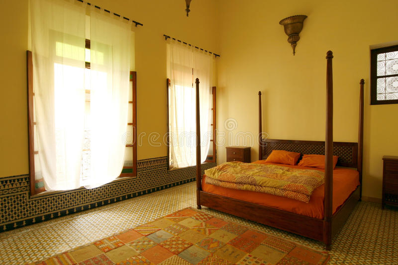 Beautiful authentic arabic bedroom, Morocco stock photography