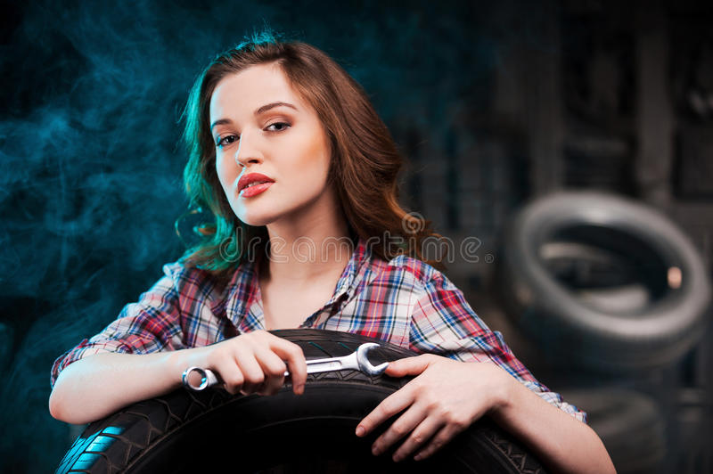 Beautiful auto mechanic. stock photo