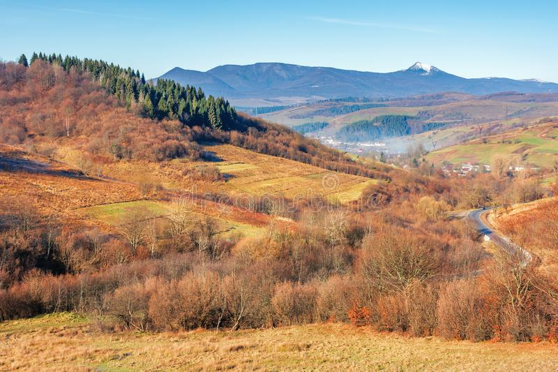 Beautiful autumn countryside in mountain at noon stock images